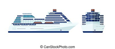 illustration of cruise ship isolated, side view of cruise ship on white background