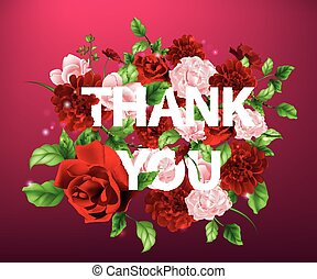 illustration of flowers with lettering Thank you