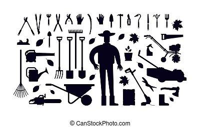 Stock vector illustration of garden tool kit and gardener. Black silhouettes on a white background