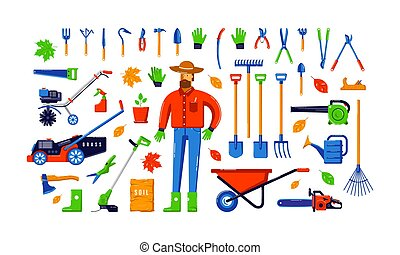 Stock vector illustration of garden tool kit and gardener. Colorful design in flat style. Isolated on white background