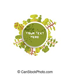illustration of green circle banner or round sticker with...