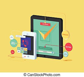 illustration of mobile phone and tablet with application for ordering call back Isometric in flat style
