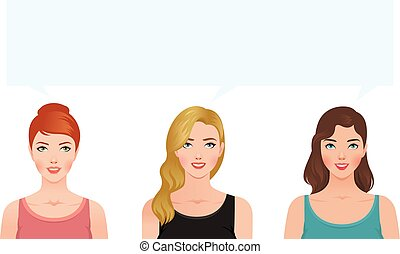 Stock vector illustration of three young women blonde brunette and redhead looking up think about something together.eps