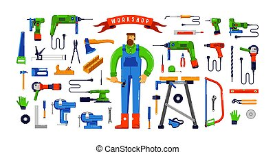 Stock vector illustration of workshop tool kit and worker. Colorful design in flat style. Isolated on white background