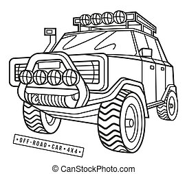 Car Jeep Off Road Suv Vector Illustration Isolated On White