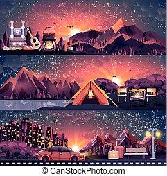 illustration set of night landscape