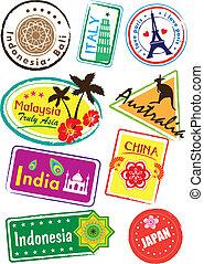 Travel sticker - Stock Vector Illustration: Travel sticker