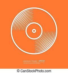 Stock Vector Linear icon vinyl. Flat design.