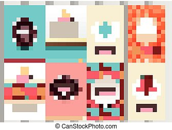 Stock vector multicolored set of brochures in vintage style