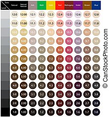 Stock vector palette with hair colour numbering system. Quality image for your project