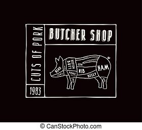 Stock vector pork cuts diagram in the style of handmade graphics