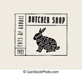 stock vector rabbit cuts diagram in the style of handmade graphics label template for butcher shop eps vector_csp55841747 butcher cut up carcass of the rabbit hand drawn sketches of butcher