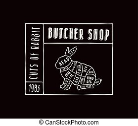 stock vector rabbit cuts diagram in the style of handmade graphics label template for butcher shop vector clip art_csp55625316 butcher cut up carcass of the rabbit hand drawn sketches of butcher