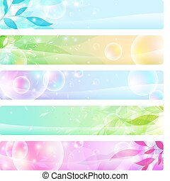 glossy banners colorful, headers - stock vector set: glossy ...