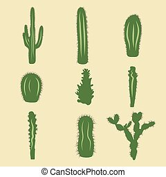 Stock vector set of cactus icons. EPS 8