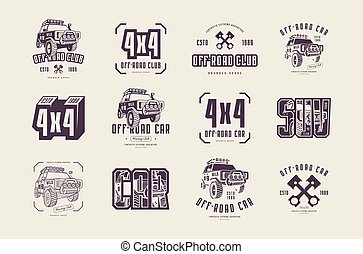 Stock vector set of off-road club emblems