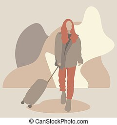 Stock vector woman with a suitcase made in a flat design on the background of abstract geometric shapes