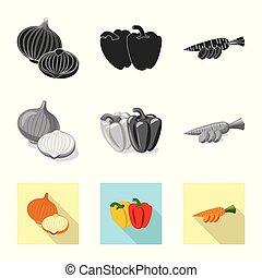 stock., vegetariano, frutta, verdura, vettore, illustrazione, collezione, icon., icona