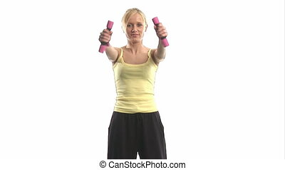 Young woman exercising with dumbells