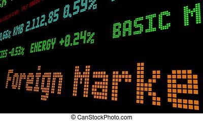 stockage, étranger, toile, marchés, attrapé, ticker, dollar