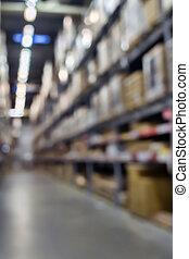 stockage, arrière-plan., entrepôt, blured, intérieur, étagère