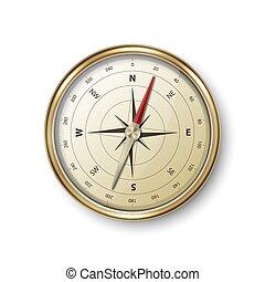 stockage, blanc, illustration, conception, compas, réaliste, icône, voyage, doré, windrose, métal, antiquité, closeup, vendange, vecteur, arrière-plan., concept., 3d, isolé, vieux, navigation, template.