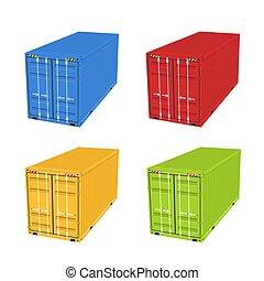 stockage, box., entrepôt, récipient, 3d, importation, isolé, expédition, cargaison, exportation