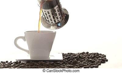 stockage, café, métrage, -