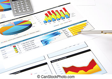 stockage, diagrammes, concept, stylo, calculatrice