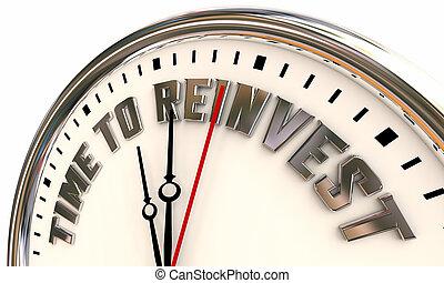 stockage, dos, horloge, marché, temps, argent, 3d, illustration, reinvest, rouleau
