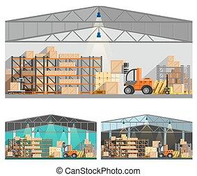 stockage, ensemble, compositions, entrepôt