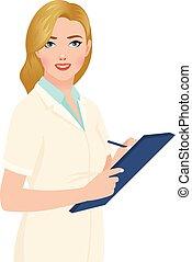 stockage, femme, mains, docteur, tablette, portrait illustration, vecteur, blond