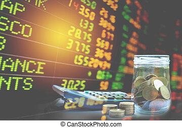 stockage, financier, double, analysis., coin., indices, comptabilité, exposition, marché pile, économie