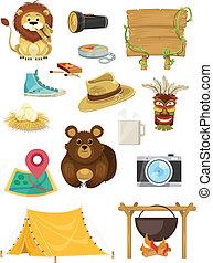 stockage, icône, vecteur, plat, tourisme