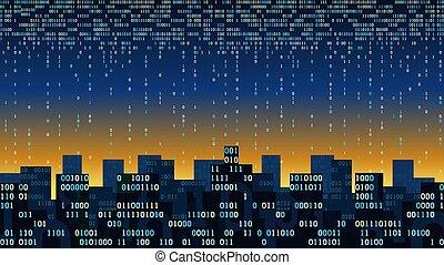 stockage, internet, données, grand nuage, résumé, couler, numérique, concept, technologie, -, ruisseau, futuriste, intelligent, choses, intelligence, réseau, connecté, données, artificiel, binaire, ville