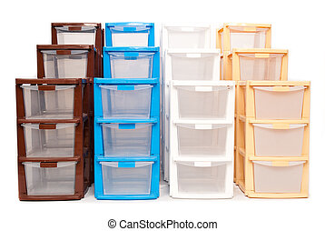 stockage, isola, plastique, bureau, boîte