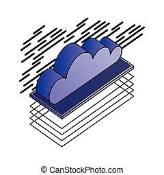 stockage, isométrique, données, nuage, calculer