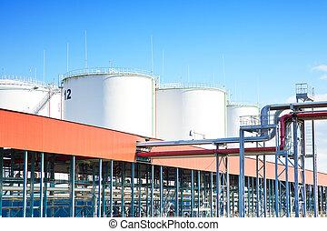 stockage, parc industriel, huile
