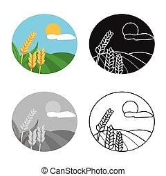 stockage, paysage, vecteur, blé, logo., illustration, ensemble, web., champ, symbole