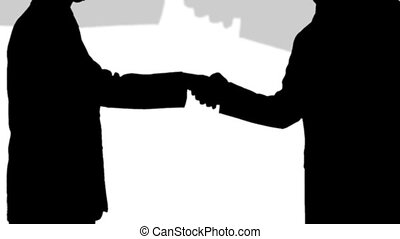 stockage, -, poignée main, animation