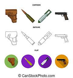 stockage, style, ensemble, icônes, cartouche, bombe,...