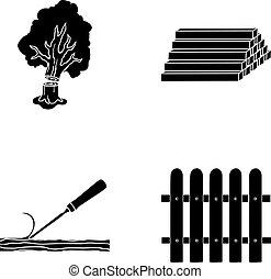stockage, symbole, bois, vecteur, collection, journaux bord, fence., ciseau, bois construction, noir, style, icônes, ensemble, web., illustration, pile, bois