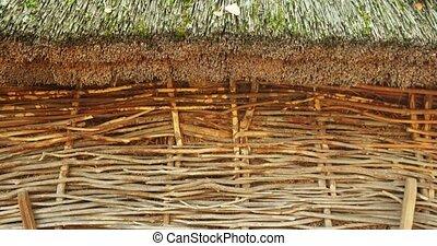 stockage, toit couvert chaume, hangar, foin, ferme, ...
