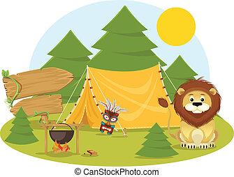 stockage, vecteur, camping, plat