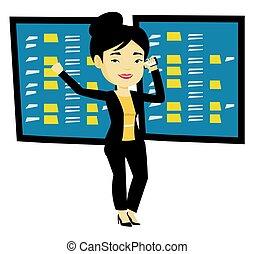 Stockbroker at stock exchange vector illustration.