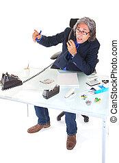 stockbroker at the phone