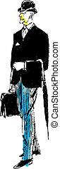 stockbroker, vetorial, ilustração