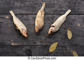 stockfish on a wooden table top view