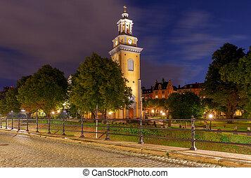 stockholm., 教会, の, メアリー magdalene, ∥において∥, night.