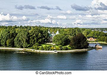 stockholm., centrale, vista, zona, sweden., costiero, viste